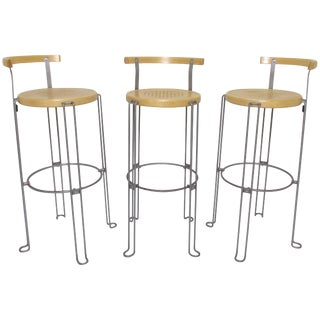 Set of Three Borge Lindau Bar Stools for Bla Station, Sweden For Sale