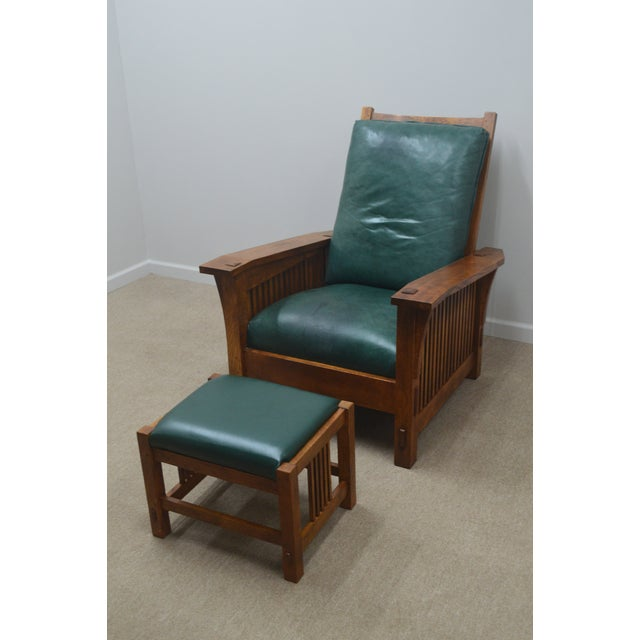 Stickley Oak Mission Morris Chair W/ Ottoman For Sale - Image 13 of 13