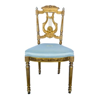 Elegant Belle Epoque Lyre Chair in Antique Gold Leaf, Italy For Sale
