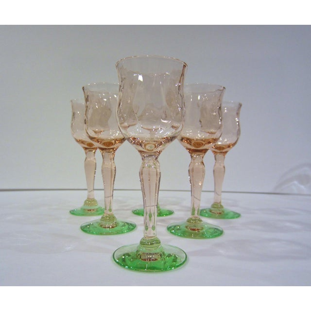 Pink & Green Watermelon Glass Cordials - Set of 6 For Sale In Nashville - Image 6 of 11