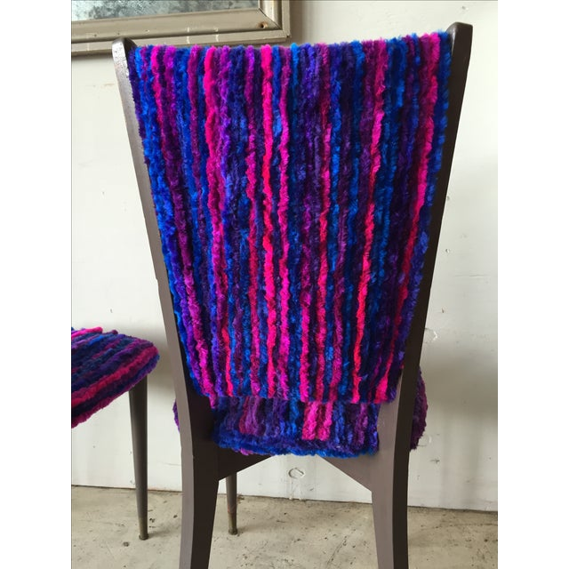 Vintage 1960s Furry Striped Accent Chairs - A Pair - Image 9 of 10