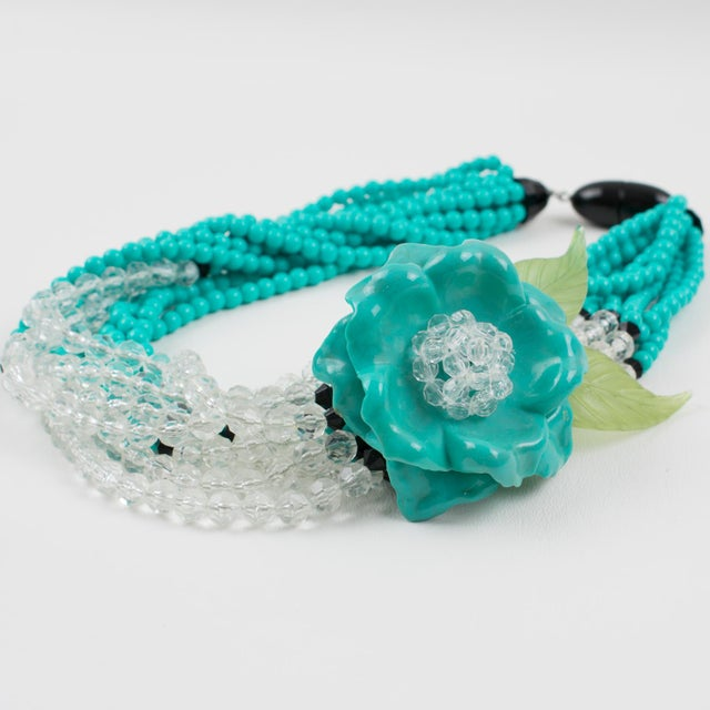 2000 - 2009 Angela Caputi Turquoise and Black Resin Necklace with Oversized Flower For Sale - Image 5 of 13