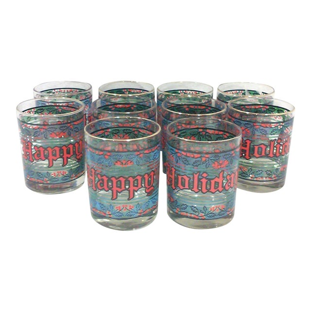 Vintage Happy Holidays Rock Glasses - Set of 12 - Image 1 of 5