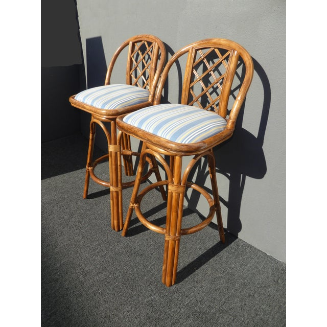 Vintage Tiki Palm Beach Bamboo Rattan Bar Stools - A Pair - Image 5 of 10