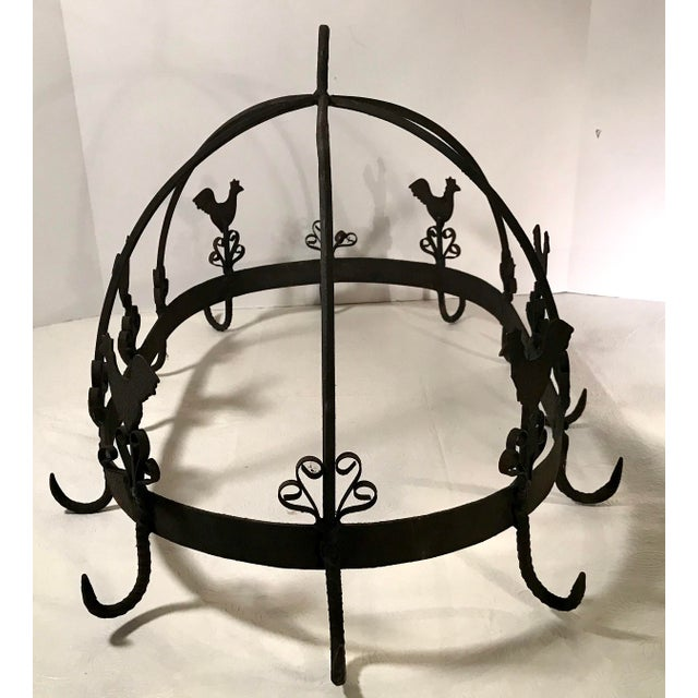 20th Century French Country Black Iron Pot Rack For Sale In Dallas - Image 6 of 11