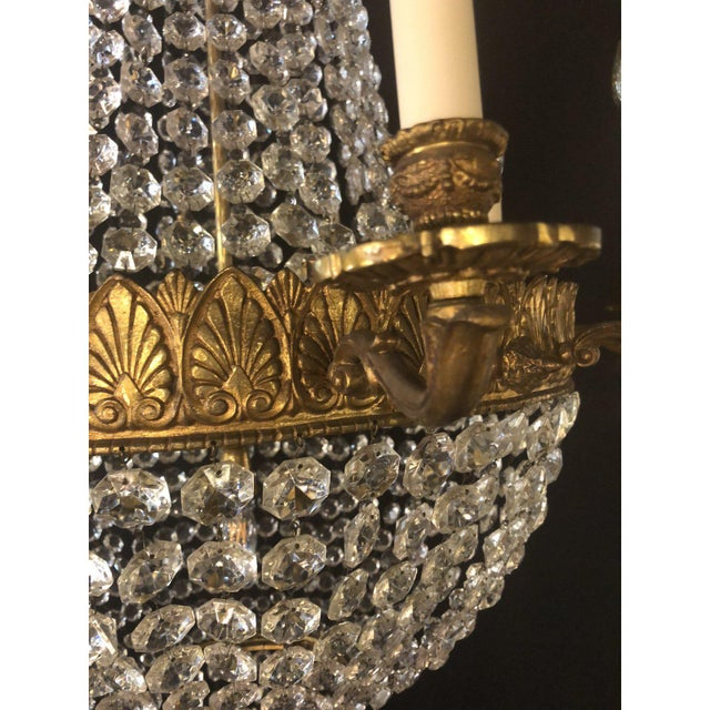 Large French Antique Louis XVI Style Bronze and Crystal Chandelier For Sale - Image 4 of 11
