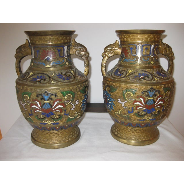 Antique Champleve Bronze Vases A Pair Chairish