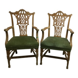 Chippendale Style Green Velvet Arm Chairs - a Pair