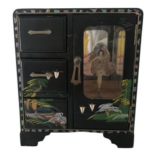 1940s Japanese Black Lacquer Ballerina Music Jewelry Box