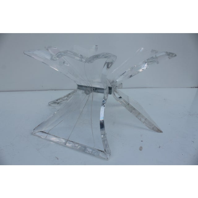 Glass Vintage Triple Butterfly Base Coffee Table For Sale - Image 7 of 8