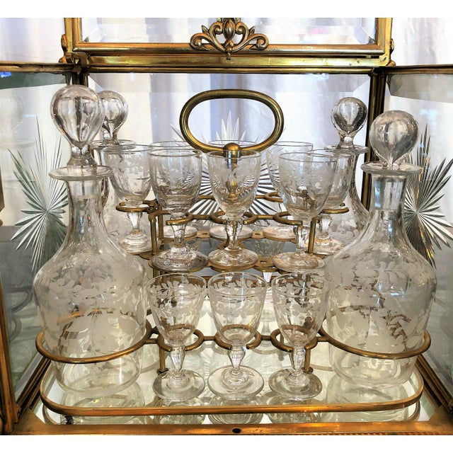 Antique French 19th Century Etched Crystal Liqueur Set, Circa 1880-1890. For Sale - Image 4 of 6