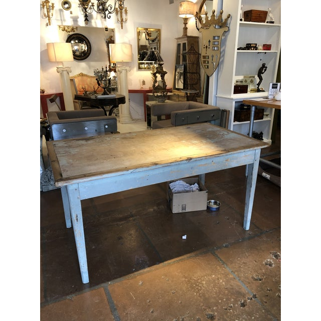 Antique Painted Wood Continental Table With Patina and Two Drawers For Sale - Image 13 of 13
