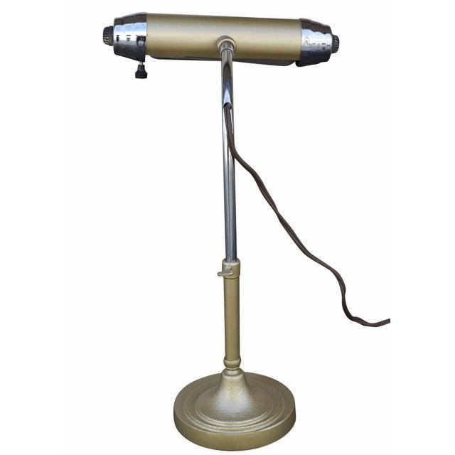 Enamel and Chromium Streamline Bankers Desk Lamp - Image 5 of 6