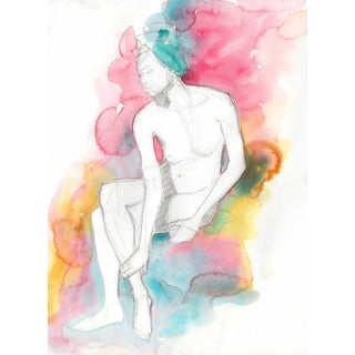 Secret - Sitting Female Nude Watercolor For Sale