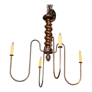 Wooden Barley Twist Iron Arm Chandelier For Sale