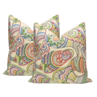"22"" Paisley Print Pillows - a Pair For Sale"