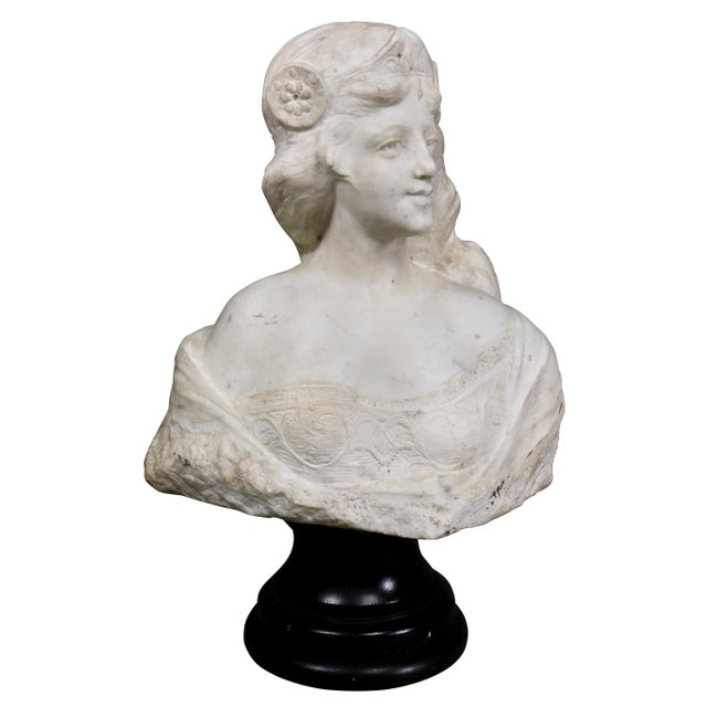 French Art Nouveau White Marble Bust of a Woman For Sale In Boston - Image 6 of 11