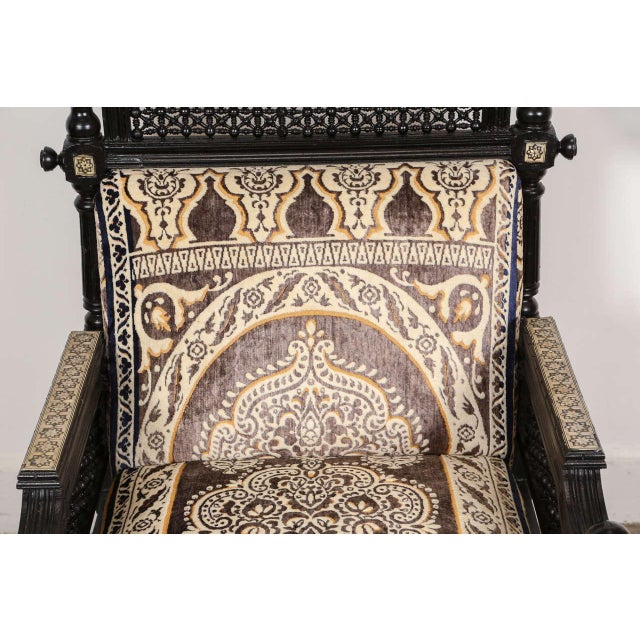Black Antique Syrian Moorish Style Black Armchairs - A Pair For Sale - Image 8 of 9