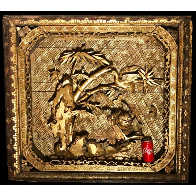 This offer is for one of two panels. This palatial wood shadow box is elaborately, deeply carved and pierced with gilded...