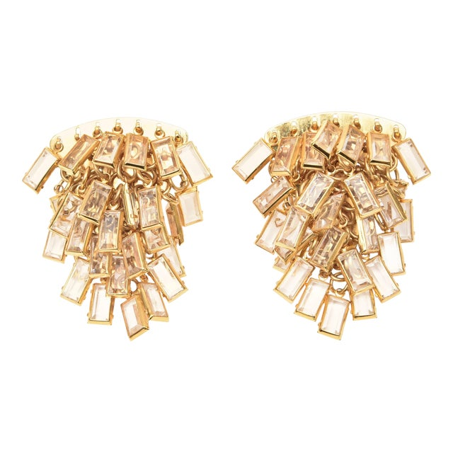 Vintage Italian Gold Tone and Cascading Glass Sculptural Earrings - a Pair For Sale