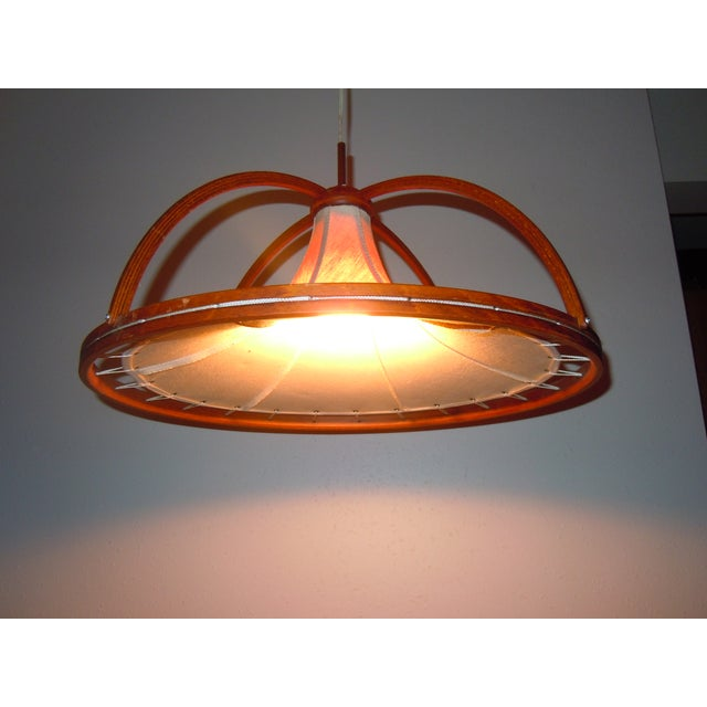Danish Modern Teak & Canvas Pendant Light - Image 6 of 7