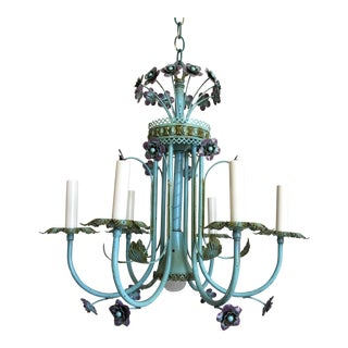 Mid-Century Italian Floral Chandelier For Sale