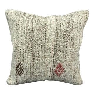 Vintage Antique Turkish White Square Kilim Pillow For Sale