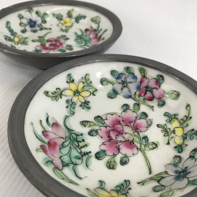 Ceramic Pewter Clad Chinese Porcelain Dishes - a Pair For Sale - Image 7 of 8