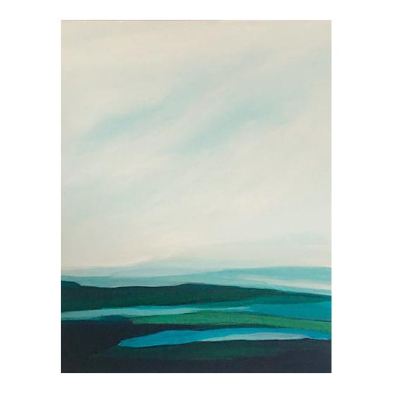 """Blue Seascape"" Abstract Original Painting by Caryn Owen - Image 1 of 4"