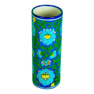 Signed Mid Century Hand Painted Blue Floral Vase For Sale