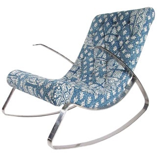 Mid-Century Modern Chrome Rocking Chair For Sale