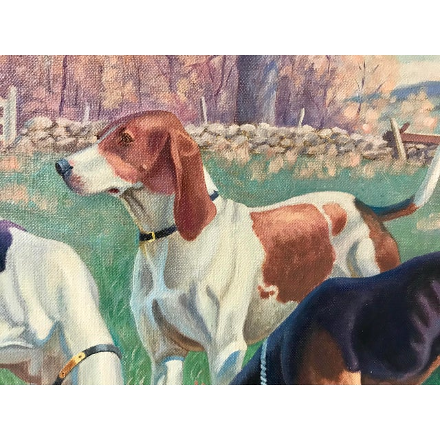 Three English Fox Hound Dogs Fox Hunt Oil Painting For Sale - Image 4 of 8