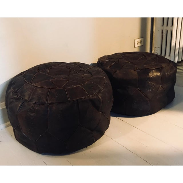 Dark Brown Leather Poufs - A Pair For Sale In Chicago - Image 6 of 6