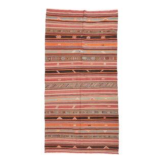 Striped Vintage Turkish Sivas Kilim Rug For Sale