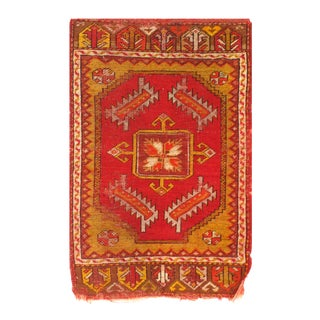 Late 19th Century Pasargad Antique Turkish Oushak Rug - 1′7″ × 2′9″ For Sale