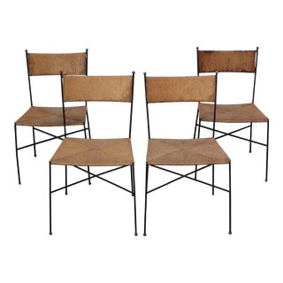 Iron and Rush Chairs by Milo Baughman for Murray Furniture - Set of 4 For Sale