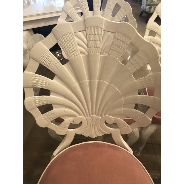 Vintage Brown Jordan Grotto Shell Back White Powdercoated Patio Chairs and Table -Set of 5 For Sale - Image 9 of 13