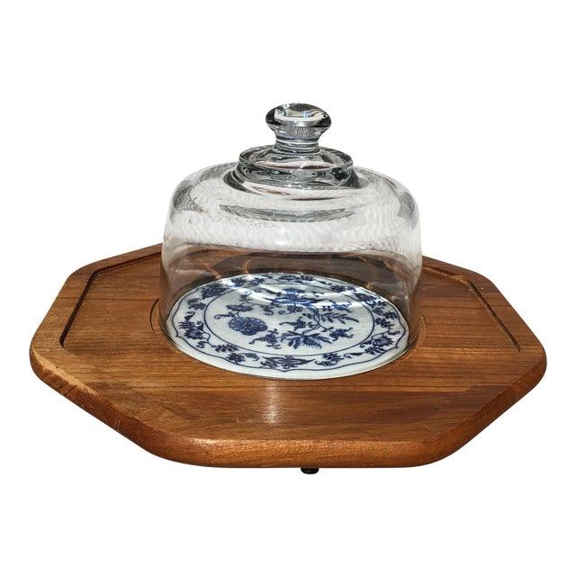 Blue and White Dolphin Teakwood Cheese Plate With Glass Dome For Sale