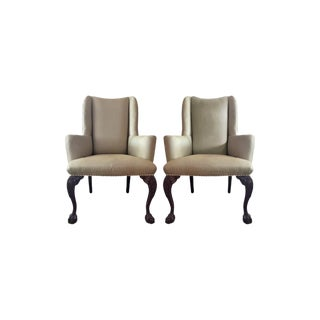 Modern Traditional Upholstered Silk Wingback Chairs- a Pair For Sale