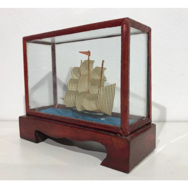 Miniature Model Sailing Ship in Wood & Glass Case - Image 6 of 11