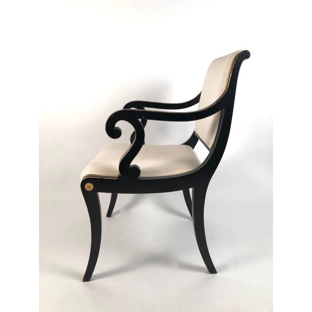 Hollywood Regency Regency Style Ebonized and Parcel Gilt Armchair For Sale - Image 3 of 12