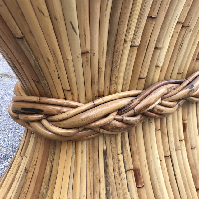 Wood Rattan Console Table by McGuire For Sale - Image 7 of 9
