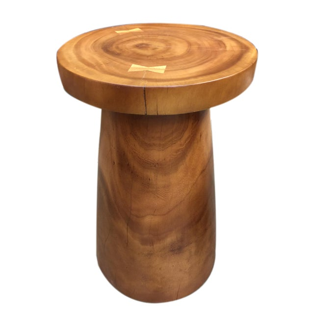 Southeast Asia Asian Modern Wood Turn End Table For Sale - Image 4 of 4