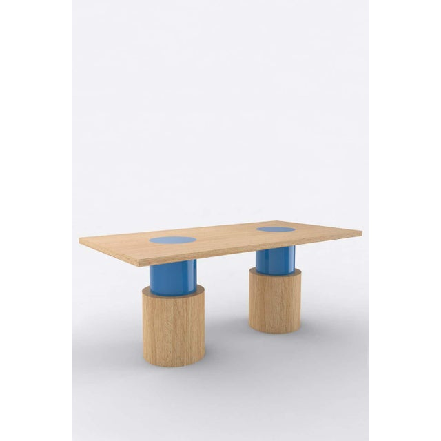 Postmodern Contemporary 102C Dining Table in Oak and Blue by Orphan Work, 2020 For Sale - Image 3 of 3