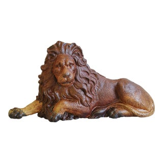 Large Antique French Cast Metal Lion Figure For Sale
