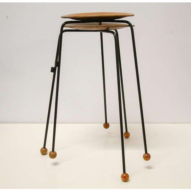 Birch Tony Paul Tempo Group #800 Birch & Enameled Steel Stacking Tables - A Pair For Sale - Image 7 of 11