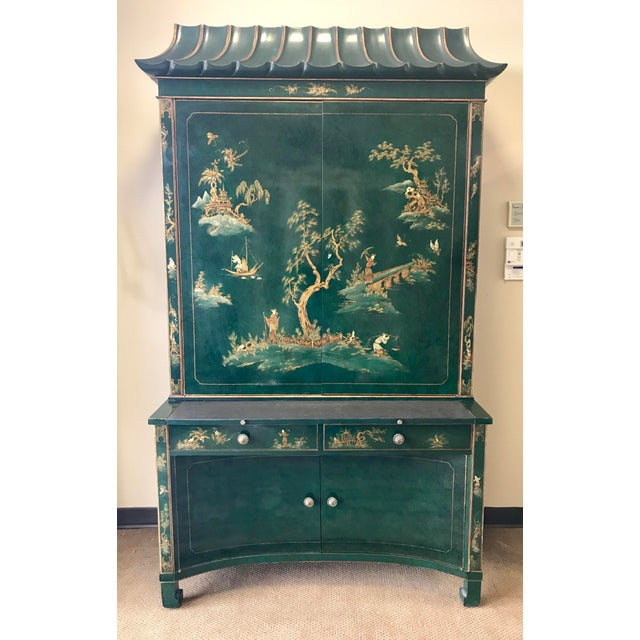Chinoiserie Green Lacquer Secretary Desk China Display Cabinet For Sale - Image 13 of 13