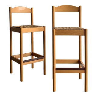 Vintage Rope Bar Stools - a Pair For Sale