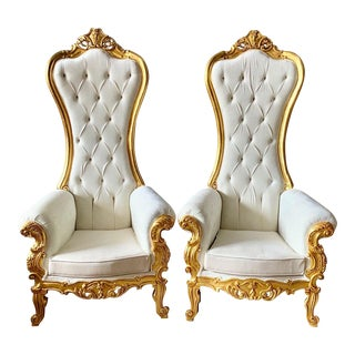 Custom Made Baroque Style White Velvet Tufted Throne Chairs- a Pair For Sale