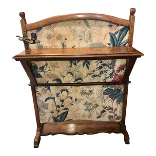 French 19th Century Fire Screen in Walnut With Adjustable Shelf and Original Retractable Arm Candle Holder For Sale
